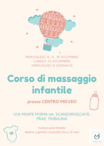 28/11/2019 - Corso di massaggio infantile per genitori e bambini 0-12 mesi in partenza il 4 dicembre!